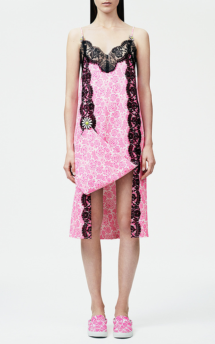 Neon Pink Lace Trim And Brooch Dress