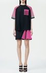 Black Skirt With Neon Pink Godet by CHRISTOPHER KANE for Preorder on Moda Operandi