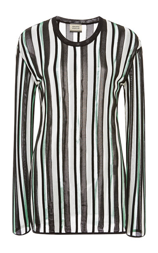 Medium fausto puglisi stripe green stripe round neck sweater