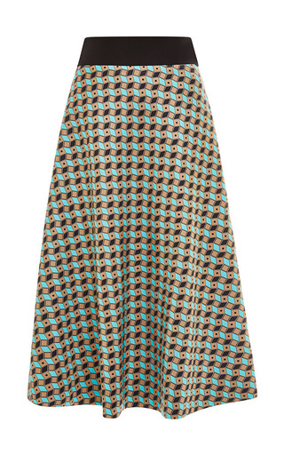 Medium fausto puglisi blue fantasy brown and blue pencil skirt
