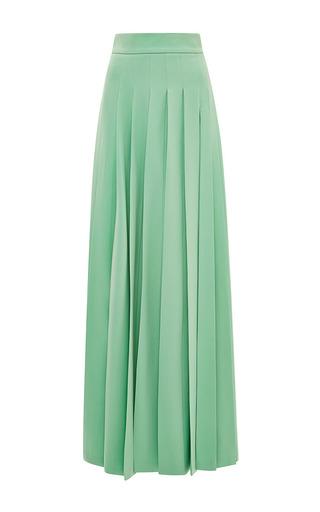Medium fausto puglisi green light green long pleated skirt