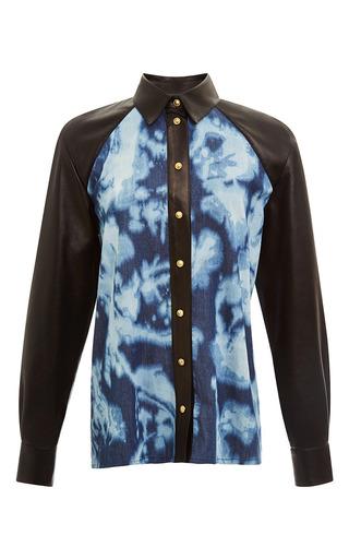 Medium fausto puglisi black black leather and denim shirt