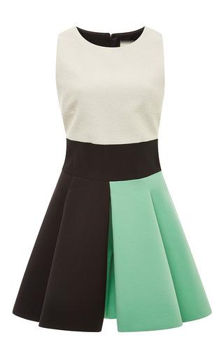 Medium fausto puglisi green color blocked boucle dress