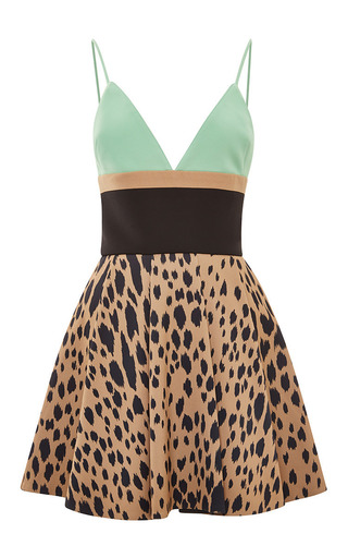 Medium fausto puglisi green leopard and green printed mini dress