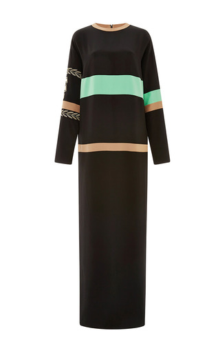 Medium fausto puglisi green black and green long sleeve maxi dress