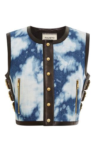 Medium fausto puglisi multi tie dye denim and leather vest