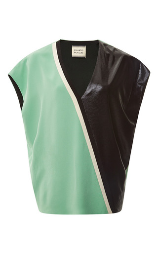 Medium fausto puglisi green light green v neck blouse