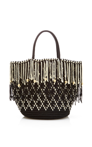 Medium sensi studio black fringe tote woven cord