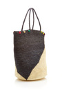Pom Pom Detail Two Tone Straw Tote by SENSI STUDIO Now Available on Moda Operandi
