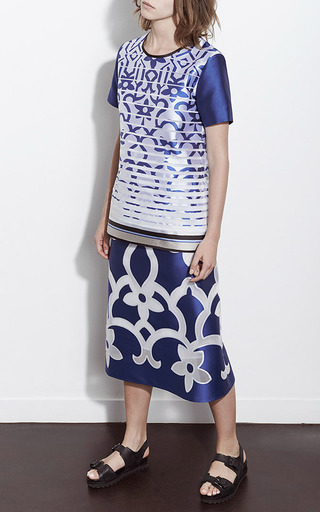 Royal Tea Length Floral A Line Skirt by OSTWALD HELGASON Now Available on Moda Operandi
