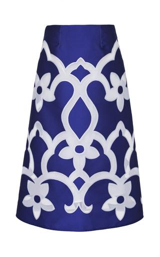 Medium ostwald helgason blue royal tea length floral a line skirt