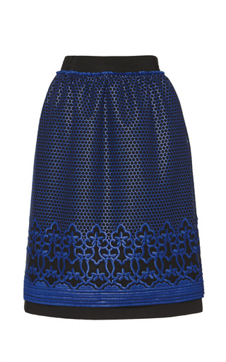 Medium ostwald helgason black black and blue embroidered mini skirt