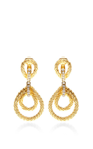 Christian Dior Gold Rope Clip On Earrings by HOUSE OF LAVANDE for Preorder on Moda Operandi