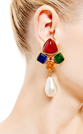1980 S Chanel  Multicolor Clip On Earrings by HOUSE OF LAVANDE for Preorder on Moda Operandi