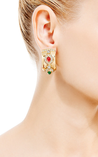Christian Dior Clip On Hoop Earrings by HOUSE OF LAVANDE for Preorder on Moda Operandi
