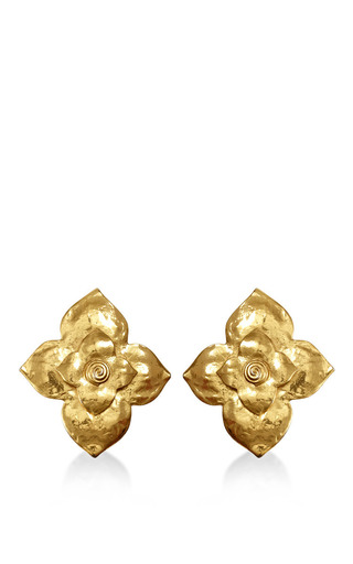 Medium house of lavande gold 1980s ysl large floral clip on earrings