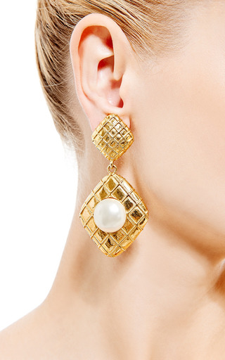 1980 S Chanel Gold Clip On Earrings by HOUSE OF LAVANDE for Preorder on Moda Operandi