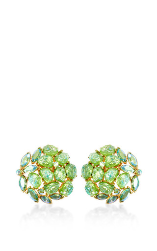 Medium house of lavande green trifari gold cluster earrings