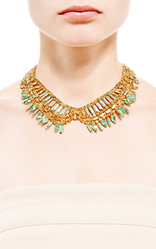 1950 S Green Collar Necklace by HOUSE OF LAVANDE for Preorder on Moda Operandi
