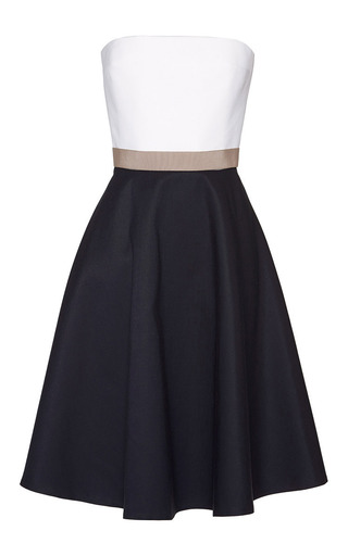 Medium martin grant navy white and beige and navy bustier dress with grosgrain