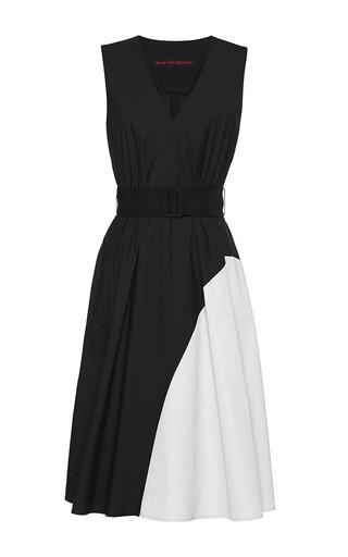 Medium martin grant multi black and mastic v neck summer graphic dress