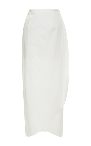 Medium rosie assoulin white pencil wrap skirt in white light cotton poplin