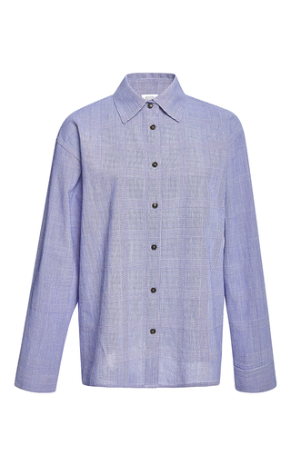 Medium rosie assoulin blue button down top in cobalt prince of wales blended cotton