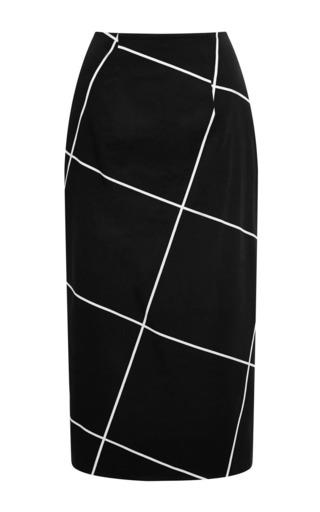 Medium josh goot white clean cotton drill stepped pencil skirt in black and white