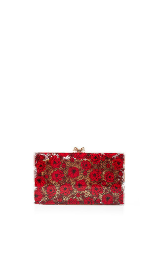 Medium charlotte olympia red printed pandora clutch in desert rose