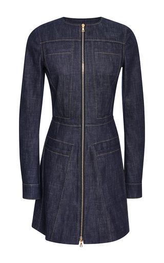 Medium derek lam blue long sleeve dress with flare in indigo