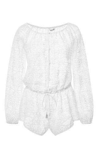 Medium love shack fancy white longsleeve playsut in vintage lace