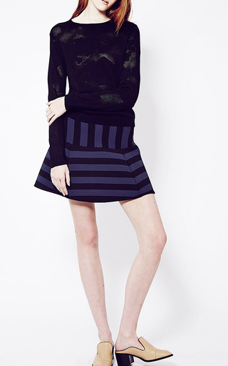 Navy And Black Misty Mini Skirt by TIMO WEILAND for Preorder on Moda Operandi