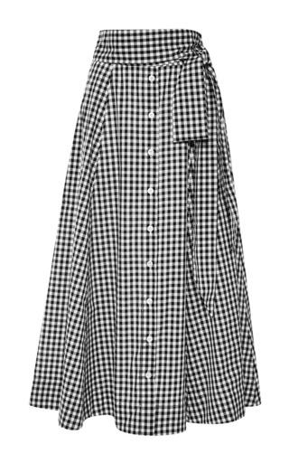 Medium lisa marie fernandez multi gingham beach skirt in black and white