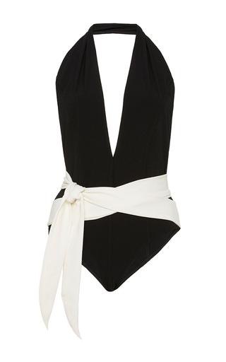 Medium lisa marie fernandez black riri maillot in black and cream