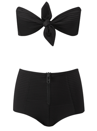 Medium lisa marie fernandez black poppy zip high waist bikini