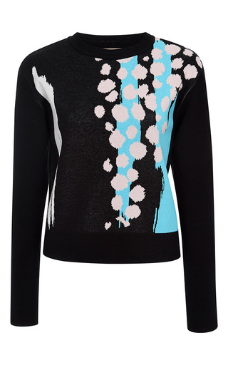 Medium etre cecile multi cheetah splash slim fit crew knit