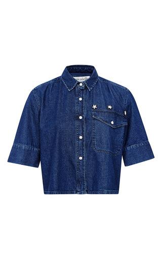 Medium etre cecile blue denim crop shirt with badges