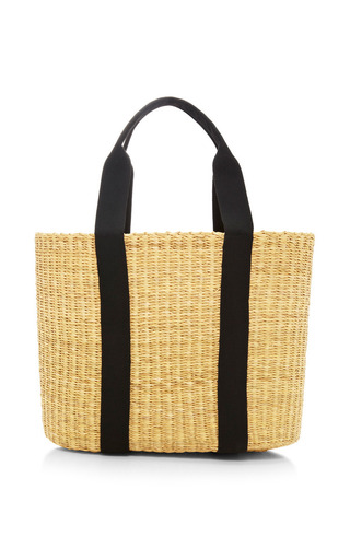 Medium muun black caba large straw bag with black pouch