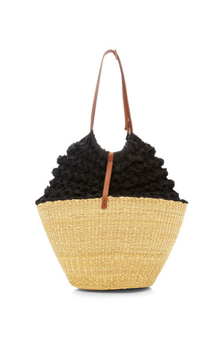 Medium muun black lima straw crochet bag