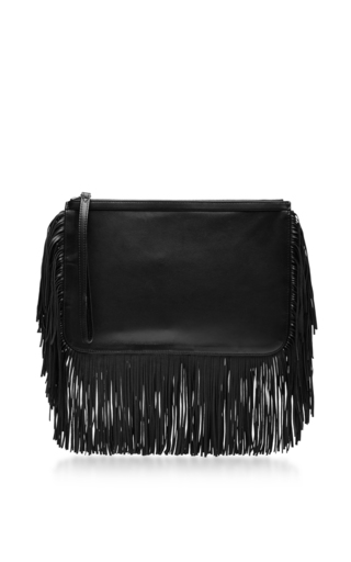 Medium pierre hardy black new fringe clutch