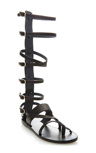 Medium ancient greek sandals black high rise strap gladiator