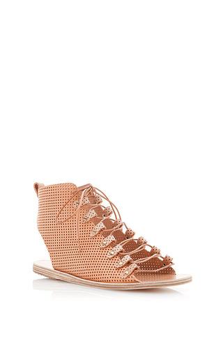 Medium ancient greek sandals brown open bootie lace up