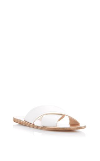 Medium ancient greek sandals white wide criss cross sandal in white