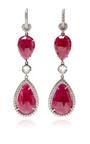 One Of A Kind Ruby Dangle Earrings With Diamonds by NINA RUNSDORF for Preorder on Moda Operandi