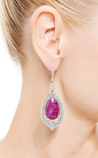 One Of A Kind Pear Shape Ruby Earrings With Rose Cut Diamonds by NINA RUNSDORF for Preorder on Moda Operandi