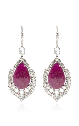 Medium nina runsdorf red one of a kind pear shape ruby earrings with rose cut diamonds