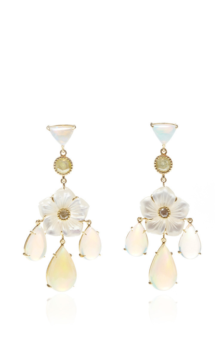 One of a kind mother of pearl flower chandelier earrings by nina loading arubaitofo Image collections