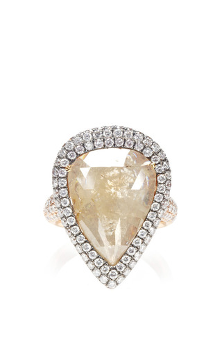 One Of A Kind Yellow Rough Pear Shape Diamond Ring by NINA RUNSDORF for Preorder on Moda Operandi