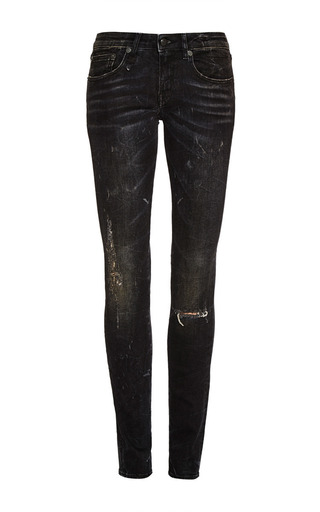 Medium r13 denim black black marble with ripped knees