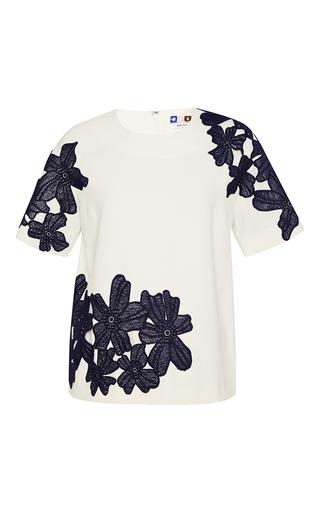 Medium msgm white short sleeve top with black applique